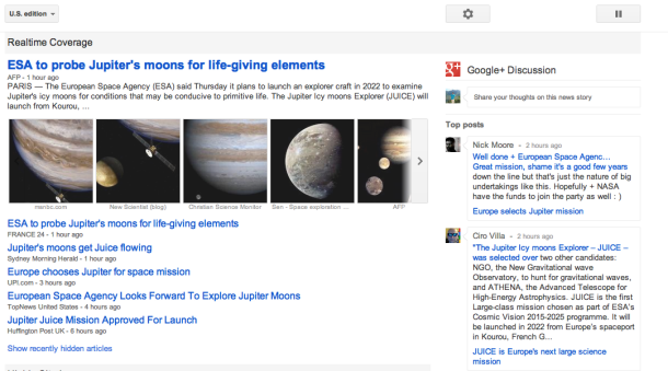 Google News gets Google+ comments