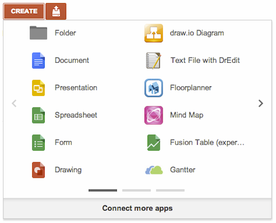 New Google Drive Create menu