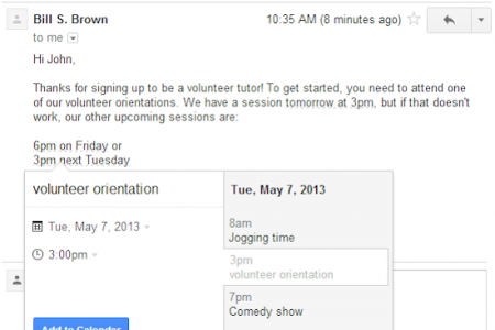 Adding events to Google Calendar from Gmail