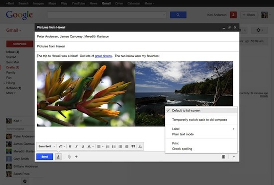 full screen compose window on gmail